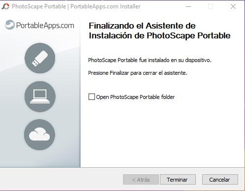 Final instalación fotoscape portable